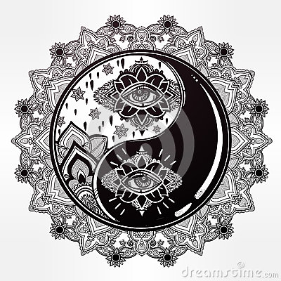 Yin And Yang Boho Mandala Symbol Stock Vector Image