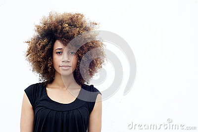 young african woman with curly hair stock photo image