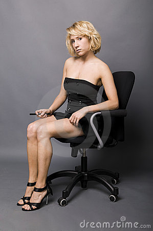 Young Secretary Sitting On An Office Chair Royalty Free Stock Photos  Image 14975168
