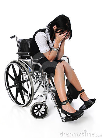 Young Woman Crying Sitting On A Wheelchair Royalty Free