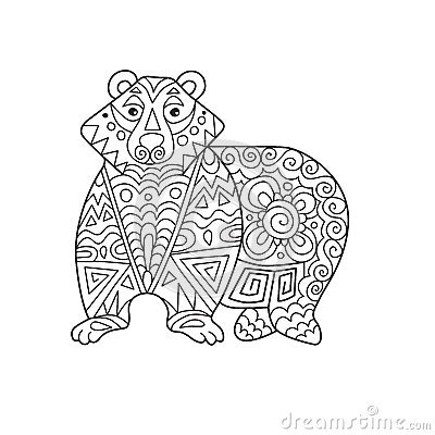 Zentangle The Baikal Bear For Adult Anti Stress Coloring
