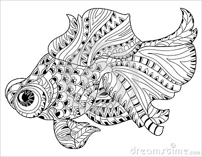 Zentangle Stylized Floral China Fish Doodle Cartoon Vector