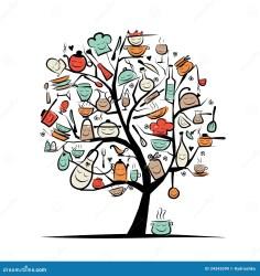 Árbol Con Los Utensilios De La Cocina Dibujo Del Arte De