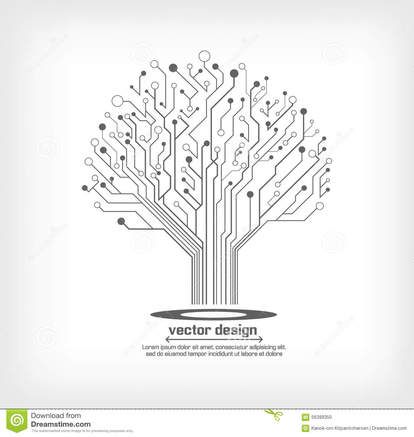 Árbol Electrónico De La Placa De Circuito Del Vector