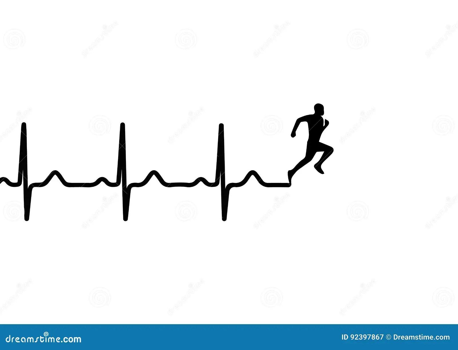 Electrocardiogramme De Battement De Coeur Et Homme De