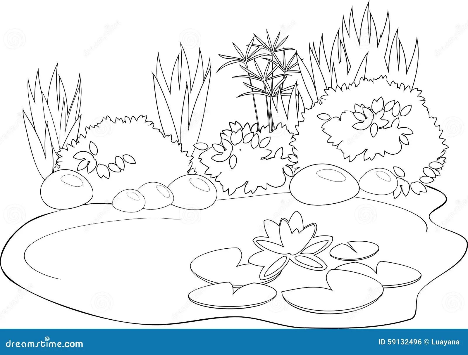 Étang de coloration illustration de vecteur. Illustration