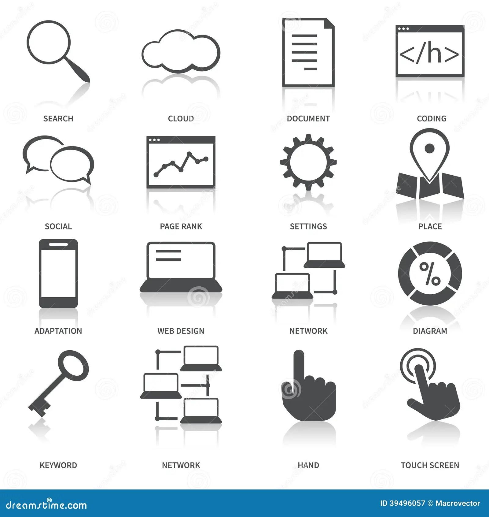 Icones Da Otimizacao Do Search Engine Ajustados Ilustracao
