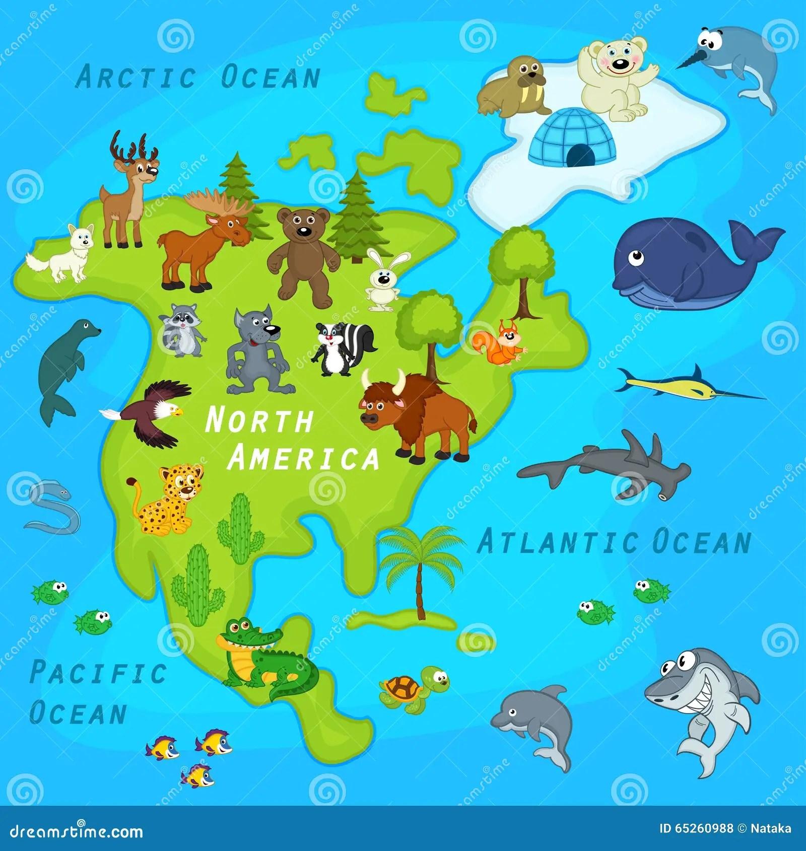 Oversikt Av Nordamerika Med Djur Vektor Illustrationer