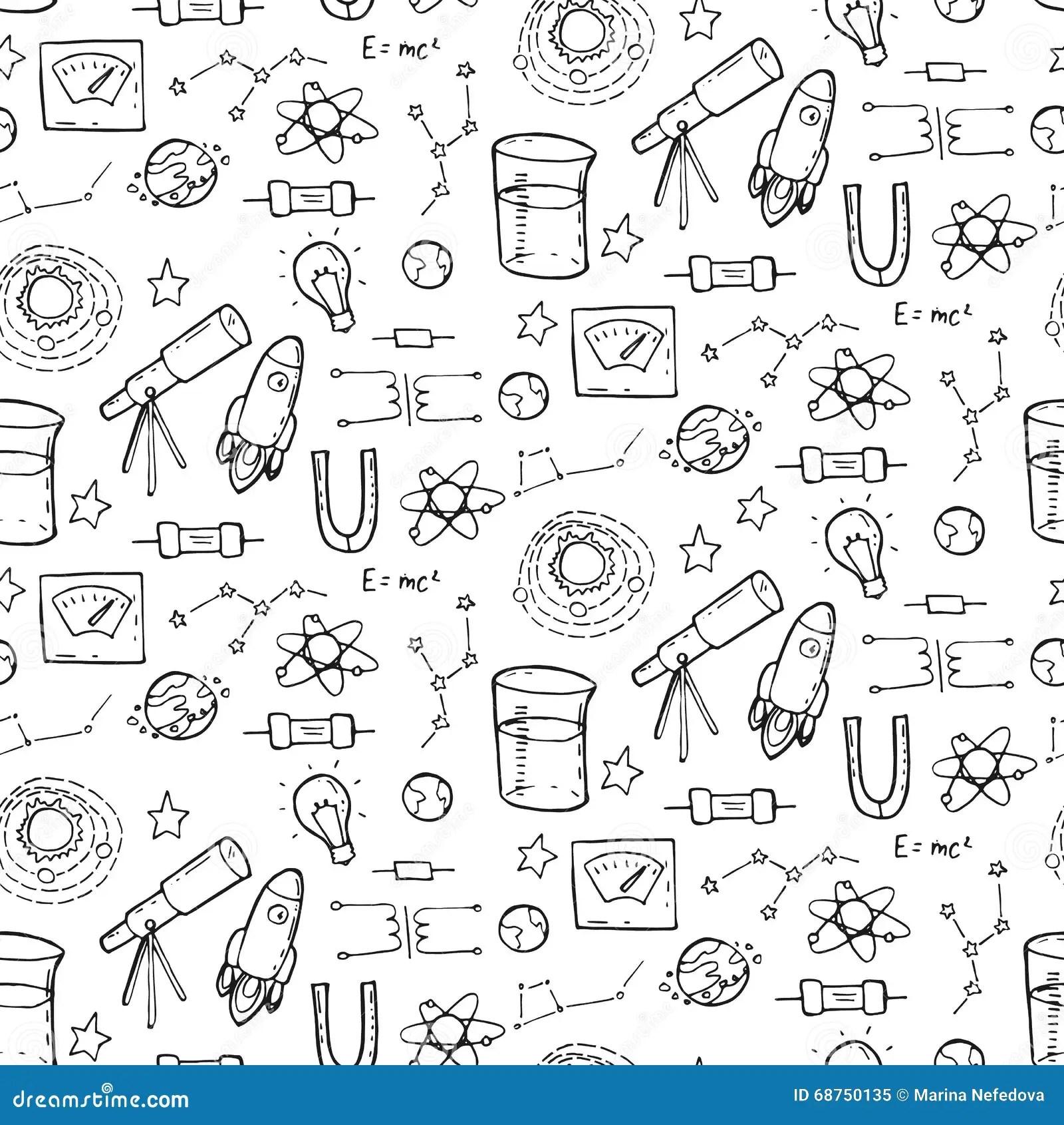 Безшовная картина с элементами Physic и астрономии