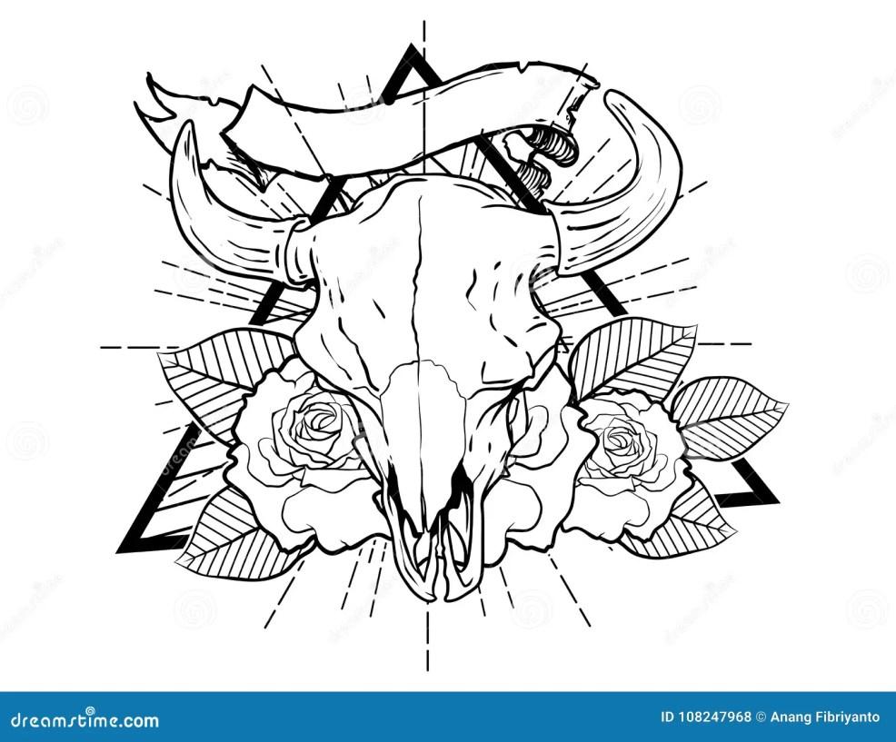 бык Bones эскиз винтажной нео традиционной татуировки черно белый