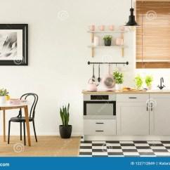 Kitchen Aid Ovens Wall 一个露天场所厨房和餐厅的真正的照片有黑色的a 库存图片 图片包括有平底 一个露天场所厨房和餐厅的真正的照片有黑白瓦片的在地板 白色家具和桃红色辅助部件概念照片上