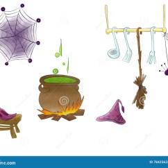 Kitchen Magician Ideas For Backsplash 万圣夜不可思议的厨房与水彩和帽子的画的巫术师鞋子库存例证 插画包括有 万圣夜不可思议的厨房与水彩和帽子的画的巫术师