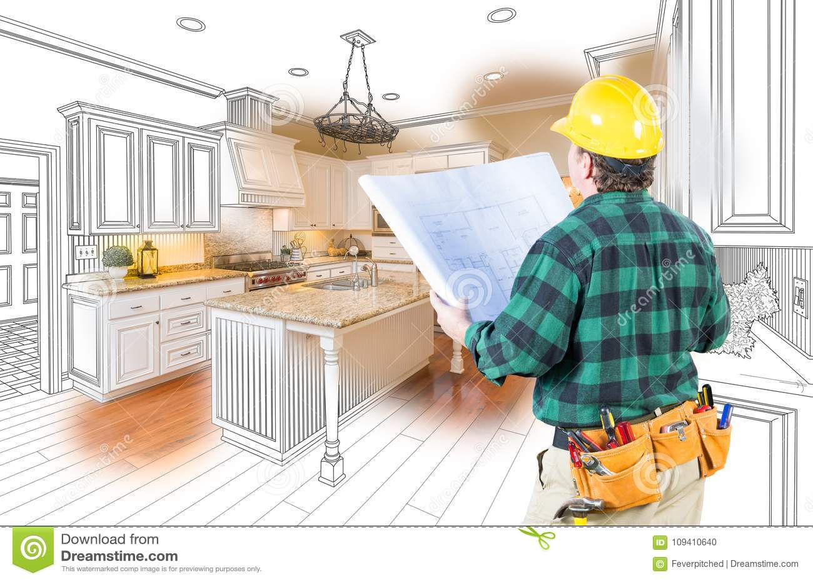 kitchen contractor laminate countertop 与安全帽和计划的公承包商看习惯厨房库存例证 插画包括有里面 自定义 与安全帽和计划的公承包商看习惯厨房