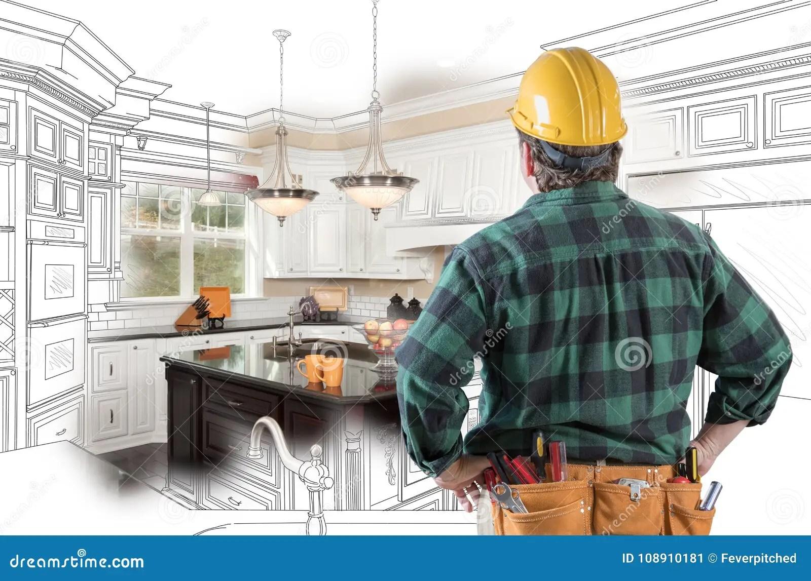 kitchen design tools rustic cart 与安全帽 工具传送带的公承包商看厨房设计库存图片 图片包括有庄园 工具传送带的公承包商看厨房设计