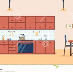Framed Prints For Kitchens White Kitchen Cabinets Lowes 与家具的厨房内部和火炉 碗柜 冰箱 器物和饭桌平的动画片样式传染媒介 器物和饭桌
