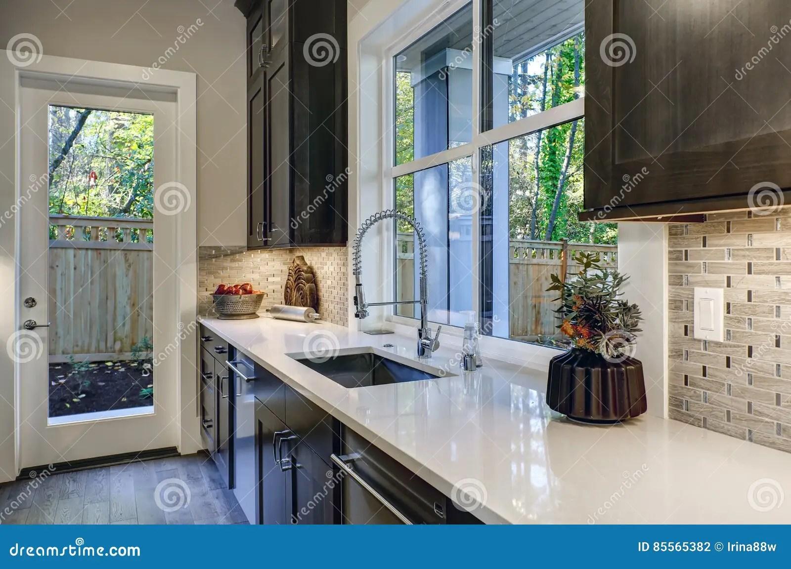 brown kitchen sink summer kitchens 与棕色厨柜的当代厨房设计库存照片 图片包括有发光 厨房 视窗 西北 与棕色厨柜的当代厨房设计