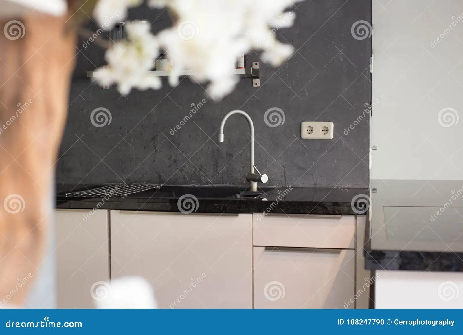 gray kitchen sink laminate floors in 与灰色墙壁的新的厨房水槽现代设计库存照片 图片包括有高雅 投反对票 与灰色walll的新的厨房水槽现代设计和银轻拍