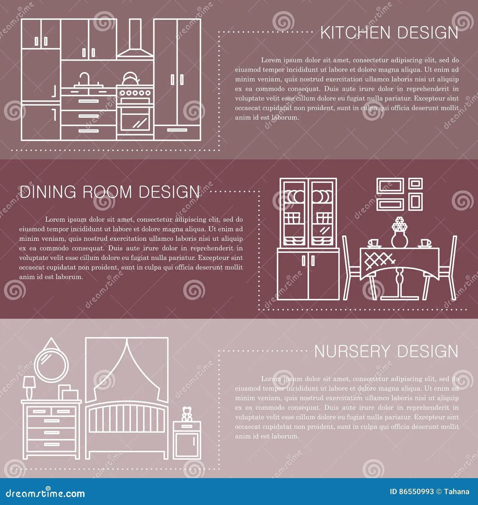 kitchen design template metal shelves ikea 与线内部象的现代小册子飞行物设计模板厨房 餐厅 托儿所传染媒介例证