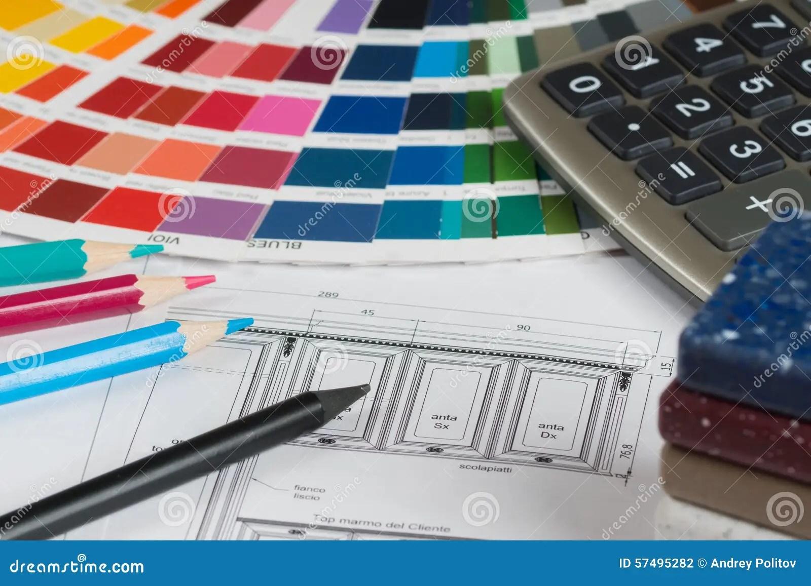 kitchen calculator wall panels 与调色板 桌面样品 铅笔和calc的厨房项目库存照片 图片包括有项目 与五颜六色的调色板 铅笔和计算器的厨房项目