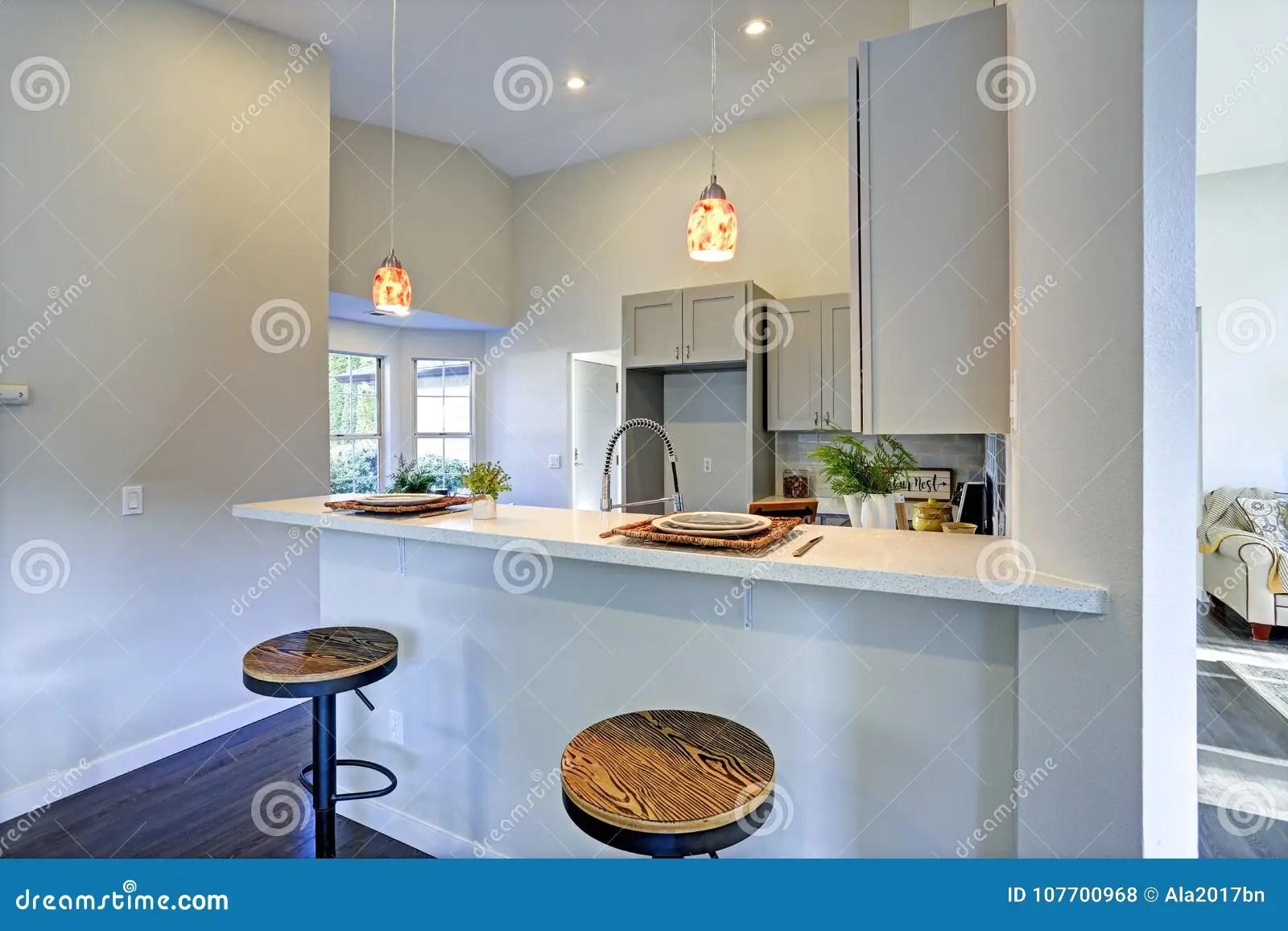 industrial kitchen stools black and white rug 与酒吧样式厨房的浅灰色的厨房室内部库存照片 图片包括有垂饰 发光 与酒吧样式五颜六色的垂饰和圆的凳子的浅灰色的厨房室内部照亮的厨房