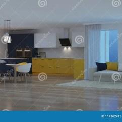 Yellow Kitchen Rugs Remodeling A On Budget 与黄色厨房的现代房子内部晚上晚上照明设备库存例证 插画包括有例证 与黄色厨房的现代房子内部晚上晚上照明设备