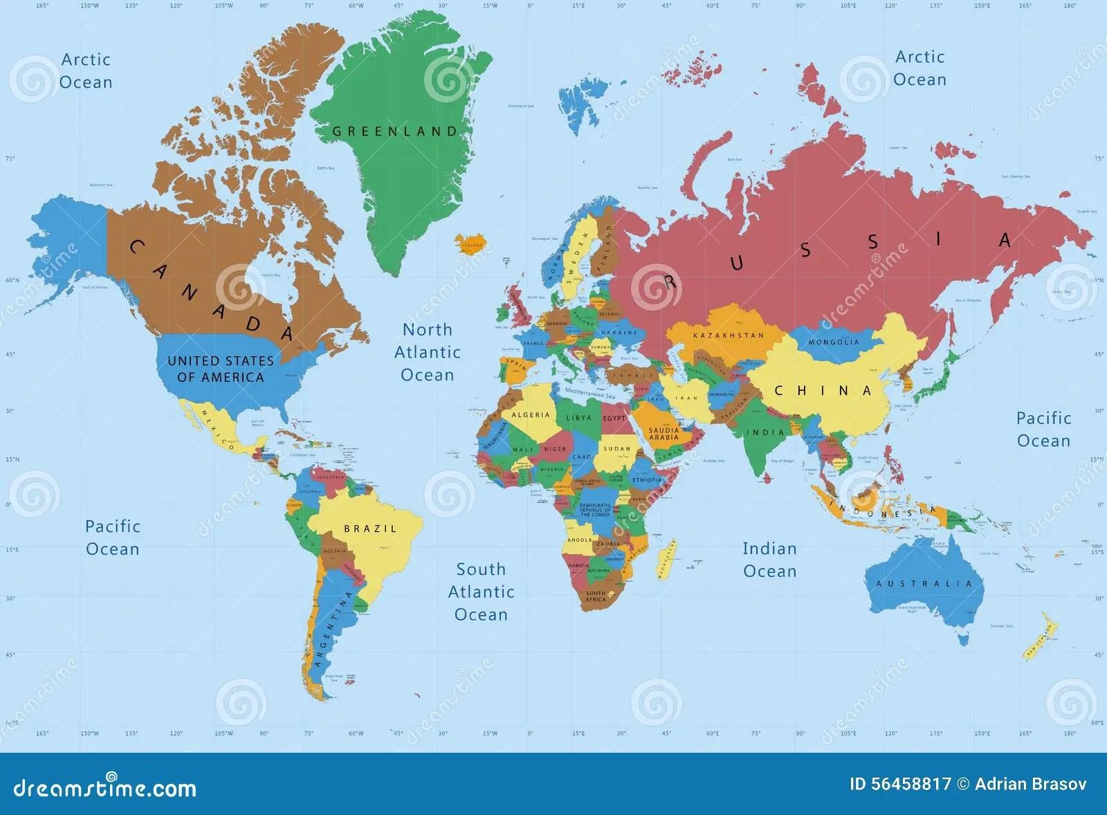 世界地圖政治詳細 庫存圖片. 圖片 包括有 繪圖, 地理, 國際, 海運, 地球, 資本, 包含, 行星 - 56458817