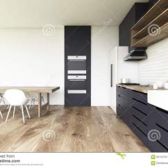 Wood Floors In Kitchen Copper Faucet 两个烤箱厨房 木地板库存例证 插画包括有现代 烹调 椅子 显示 室内 与木地板 两个烤箱 一张长的木桌与椅子和黑工作台面的厨房内部3d翻译