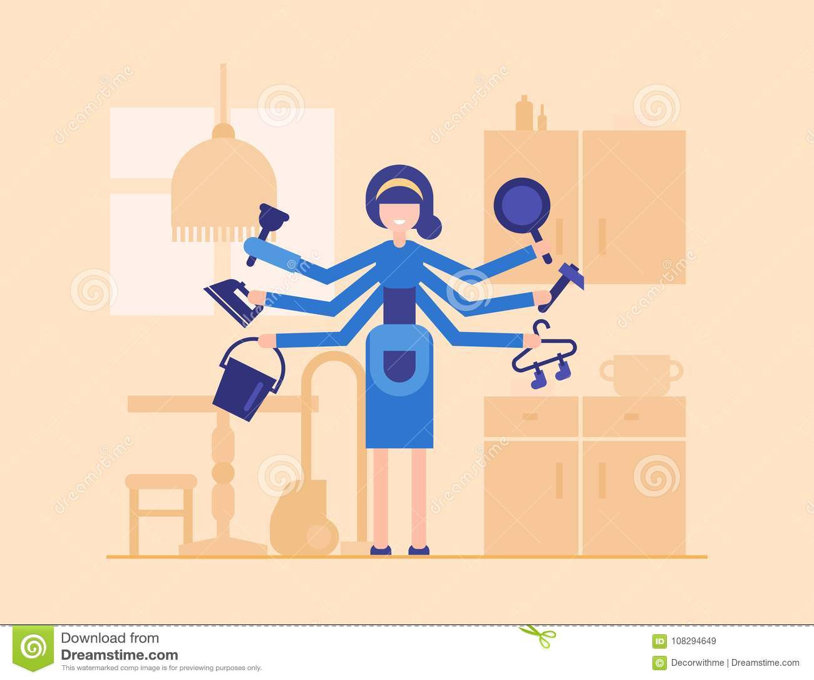 kitchen pot hangers tile countertops 主妇在厨房里 现代平的设计样式例证向量例证 插画包括有图象 女性 在与家具剪影的橙色背景隔绝的现代平的设计样式例证微笑的漫画人物 拿着铁 桶 平底锅 锤子 挂衣架的妇女