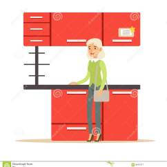 Home And Kitchen Stores Floor Designs 买红色厨房集合 家具商店购物的微笑的顾客的妇女议院装饰元素的向量例证 家具商店购物的微笑的顾客的妇女议院装饰元素的寻找在商城的漫画人物家庭室内设计项目