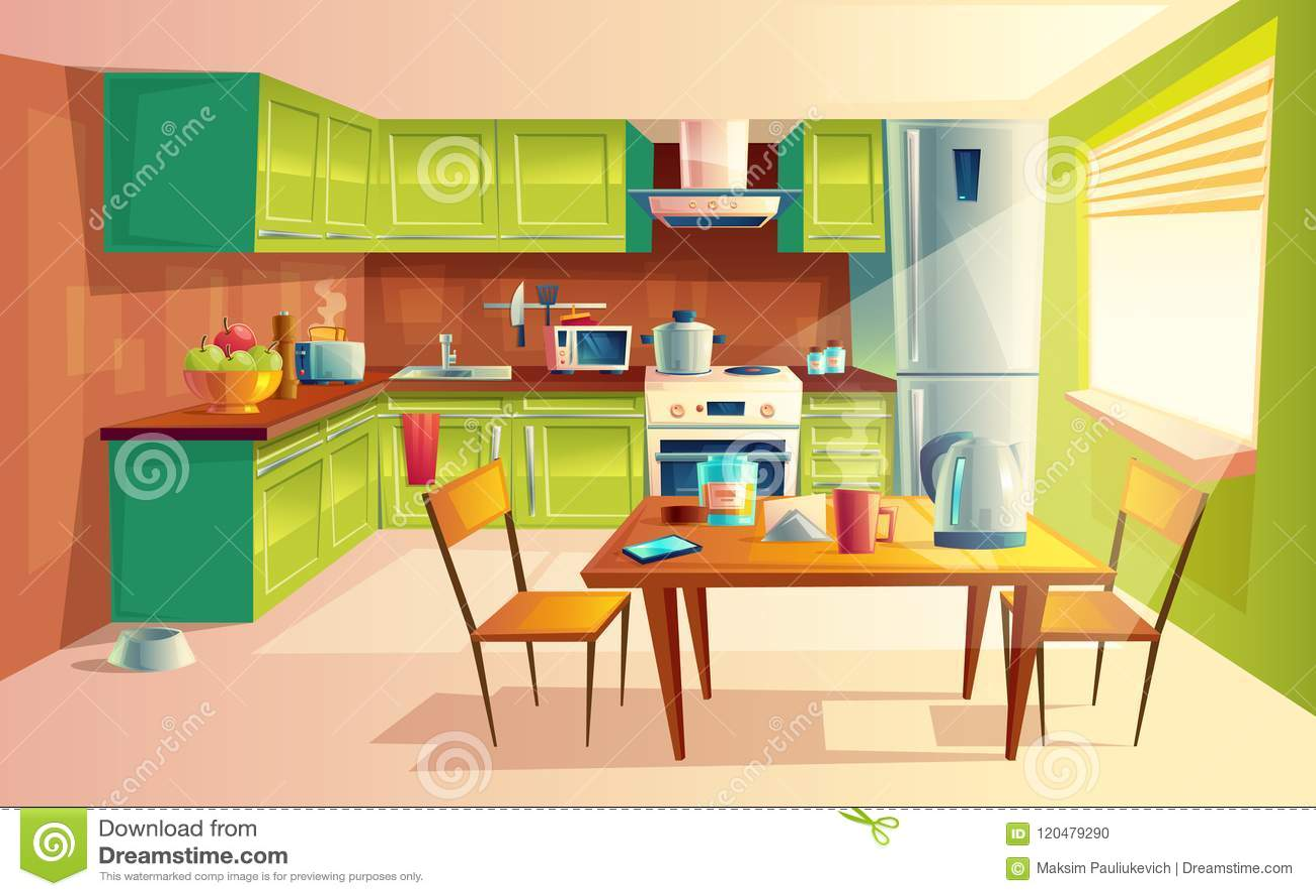 kitchen builder app thermofoil cabinets 传染媒介厨房内部的动画片例证向量例证 插画包括有水壶 平面 例证 传染媒介厨房内部的动画片例证