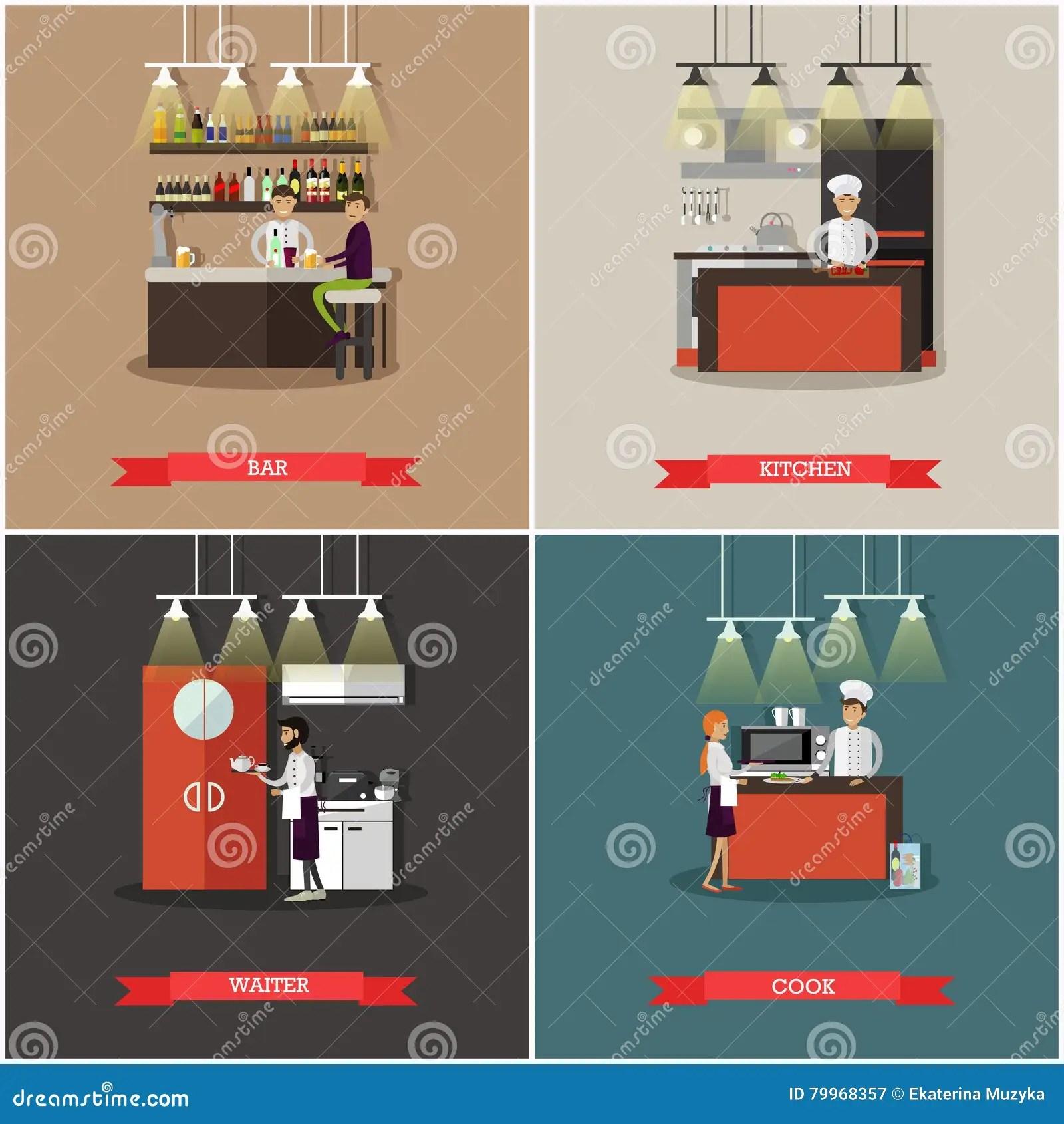 kitchen pub sets novaform anti fatigue mat 传染媒介套与餐馆内部的横幅酒吧 厨房 厨师厨师和侍者字符向量例证 厨师厨师和侍者