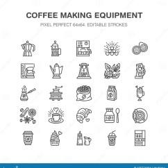 Kitchen Aid Grinder Southwest Decor 做设备平的线象的咖啡元素 Moka罐 法国人新闻 研磨机 浓咖啡 自动 自动贩卖机 植物线性餐馆 与编辑可能的冲程的商店图表映象点完善的64x64