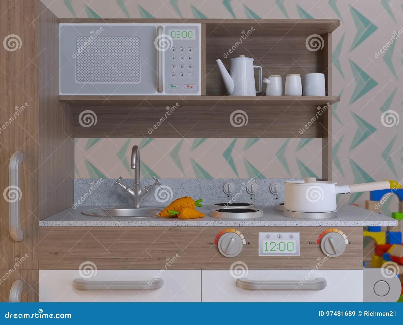 kitchen aid cabinets utility cart 儿童厨房设计内部戏剧设置了与辅助部件库存例证 插画包括有乐趣 内部 儿童厨房烹调的设计内部假装戏剧设置与辅助部件3d例证哄骗厨房聪明的playset 回报图象
