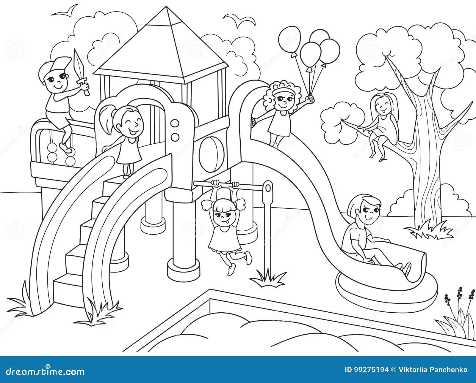儿童的游乐场着色 传染媒介例证黑白 向量例证. 插画 包括有 钉书匠, 子项, 灌木, 幼稚园, 艺术, 投反对票