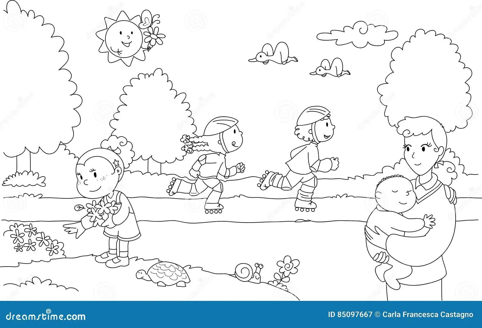 公园的人们 向量例证. 插画 包括有 国家(地区), 愉快, 妈妈, 子项, 人们, 友谊, 比赛, 着色