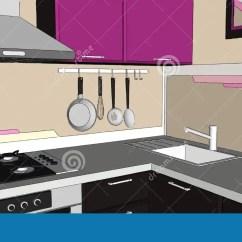 Brown Kitchen Sink Kitchen.com 关闭与敞篷 Cooktop 水槽和装置的当代紫罗兰色和棕色厨房角落内部库存 水槽和装置的当代紫罗兰色和棕色厨房