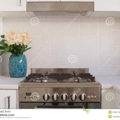 Kitchen Ovens Chalkboard 关闭厨房烤箱和铺磁砖的splashback 库存照片 图片包括有烤箱 阿拉斯加