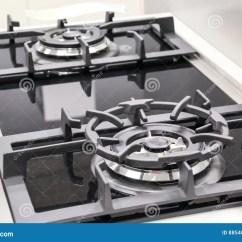 Kitchen Stove Gas Disposal 关闭双重厨灶 煤气炉库存照片 图片包括有烧伤 把柄 家具 燃烧器 烹调概念