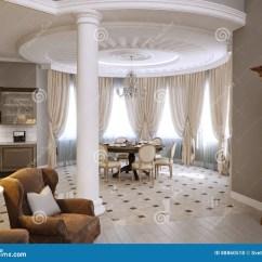 Kitchen Curtains For Sale Designs Small Spaces 经典客厅 厨房和餐厅室内设计库存例证 插画包括有窗帘 内部 最高限额 与灰色墙壁的经典客厅 厨房和餐厅室内设计 大镜子和壁炉3d翻译