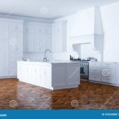 Kitchen Aid Classic Plus Remodel Checklist 经典白色厨房援助和白色内部与木木条地板库存例证 插画包括有经典 豪华 经典白色厨房援助和白色内部与木木条地板