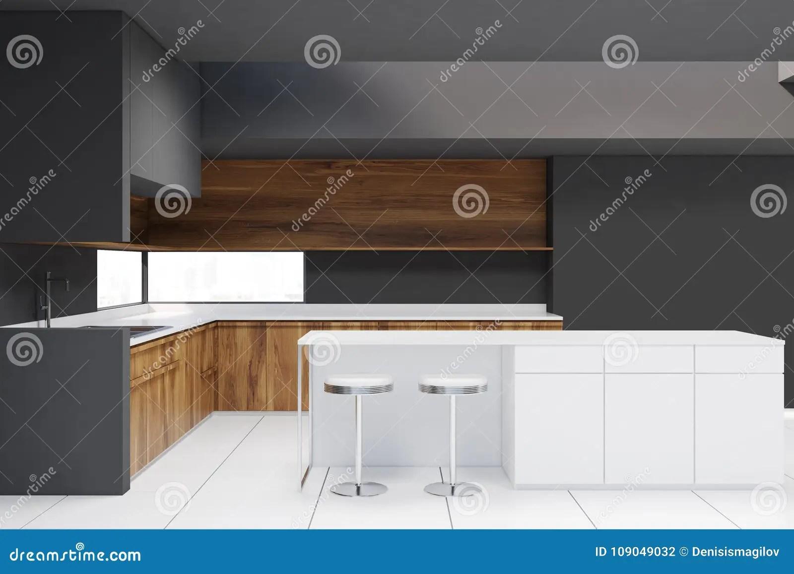grey kitchen countertops counter height table and chairs 内部灰色的厨房 木工作台面 酒吧库存例证 插画包括有机柜 复制 消耗 与一个狭窄的窗口 木工作台面和白色铺磁砖的地板的灰色厨房内部与凳子的一个酒吧一张侧视图3d翻译嘲笑