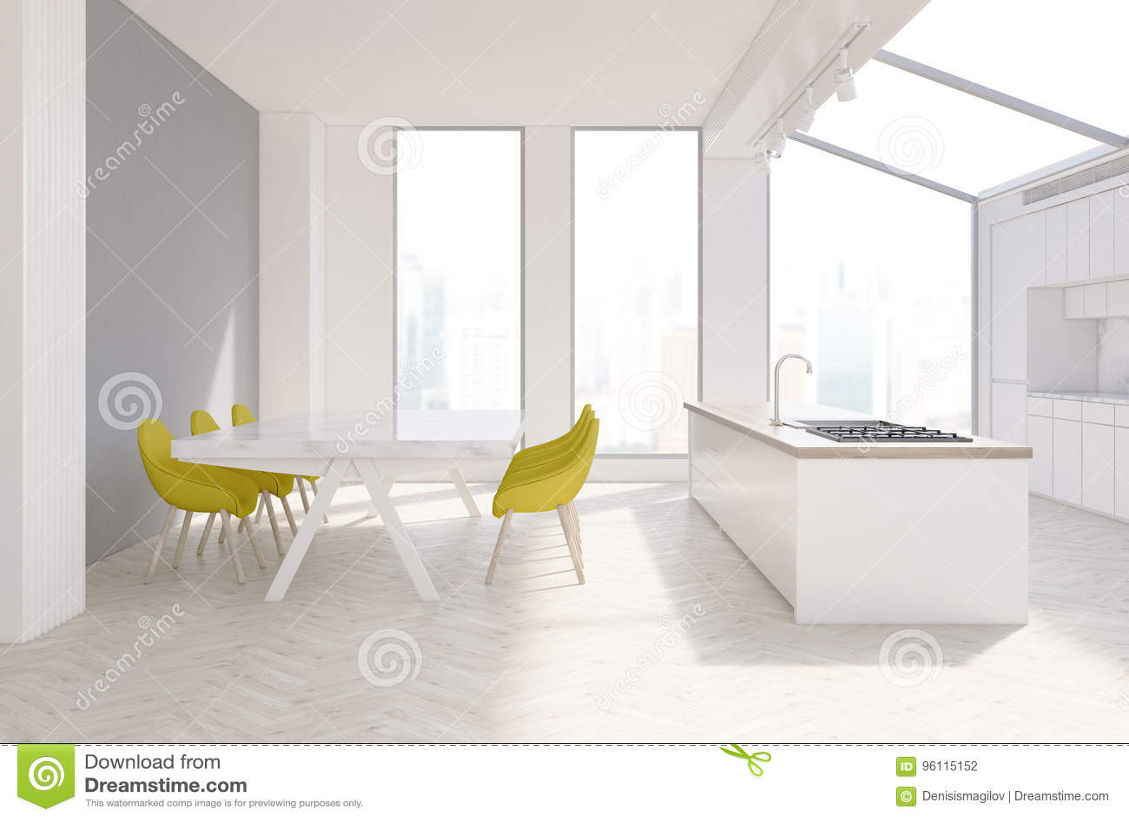 gray kitchen chairs cobalt blue accessories 内部灰色的厨房 黄色椅子库存例证 插画包括有龙头 实际 翻译 回报 与狭窄的高窗口 一张长的大理石桌 黄色椅子两行和一个木工作台面的灰色厨房内部3d翻译嘲笑