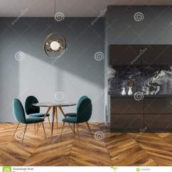 Blue Kitchen Chairs Lowes Pendant Lights 内部灰色的餐厅 蓝色椅子库存例证 插画包括有自然 没人 嘲笑 简单派 灰色墙壁与一个木地板 圆桌和蓝色椅子的餐厅和厨房内部3d翻译嘲笑