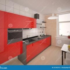 Red Kitchen Chairs Cabinet Pulls And Handles 紧凑现代红色厨房库存例证 插画包括有场面 椅子 设备 豪华 例证 没 有功能家具的紧凑现代红色厨房