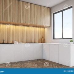 Kitchen Table Nook Long Narrow Island 厨台上面的角落与轻的木家具的 被定调子库存例证 插画包括有抽象 房子 被定调子