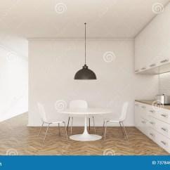 Kitchen Table Nook Rubbermaid Trash Cans 厨房内部前面库存例证 插画包括有照亮 计数器 用餐 具体 没人 居住 厨房内部与火炉和水槽的正面图与小餐桌和椅子的 柜台 内阁 天花板灯 木地板和混凝土墙3d翻译