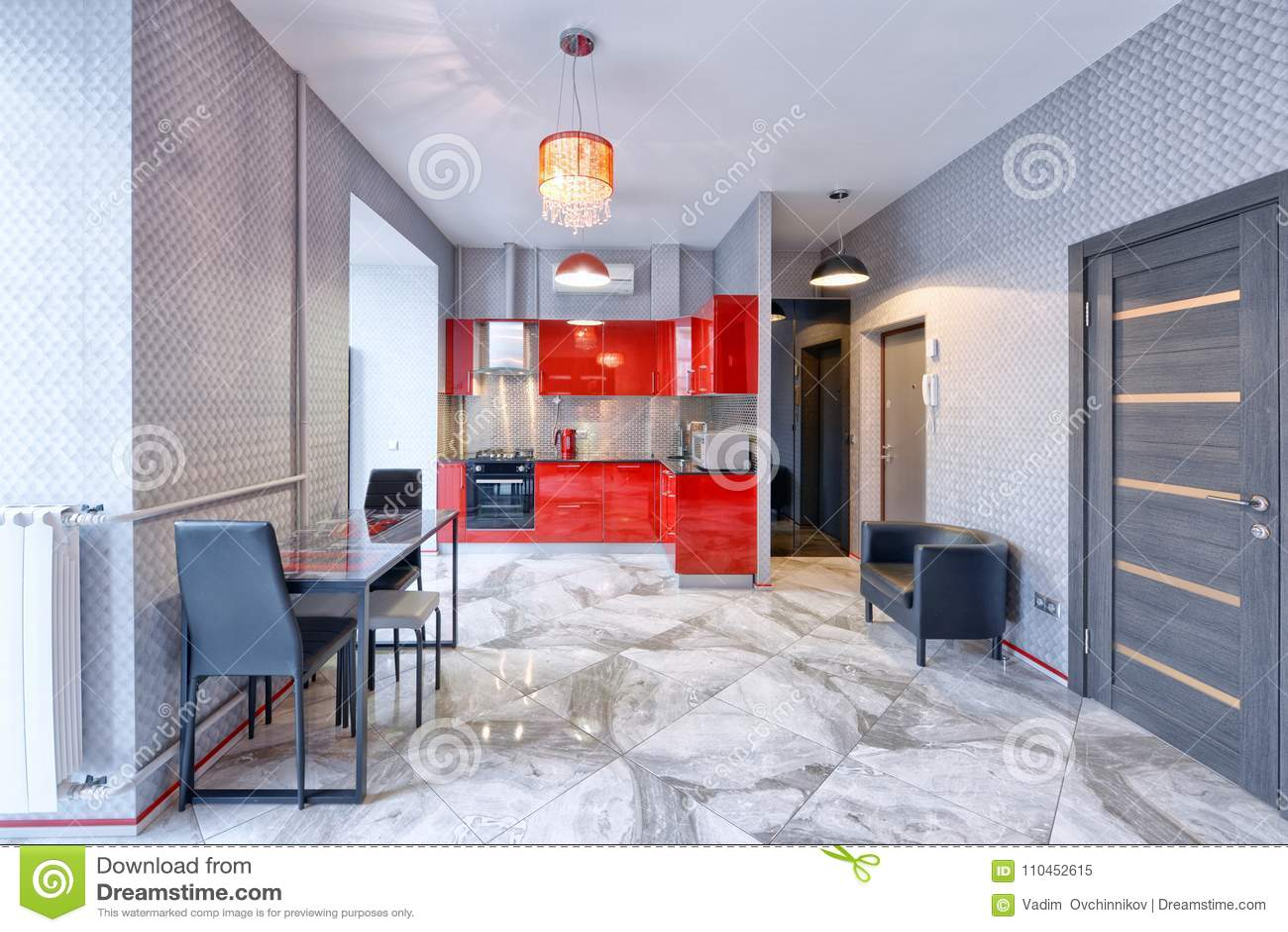 kitchen curtains for sale led ceiling lighting 厨房内部在红颜色现代房子里库存图片 图片包括有窗帘 平面 设计 光滑 厨房内部在红颜色现代房子里