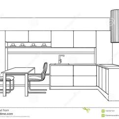 Modern Kitchen Art Large Round Table 厨房内部计划在做的现代厨房家具草稿线艺术样式向量例证 插画包括有家具 厨房内部计划在做的现代厨房家具草稿线艺术样式