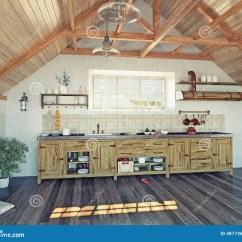 In Stock Kitchens White Glass Backsplash Kitchen 厨房在顶楼库存例证 插画包括有阁楼 Browne 楼层 没人 放光 设计 与海岛的现代厨房内部在顶楼 3d设计观念