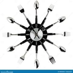 Wooden Kitchen Clock Small Outdoor Ideas 厨房壁钟库存照片 图片包括有墙壁 投反对票 时间 叉子 器物 厨房 厨房壁钟